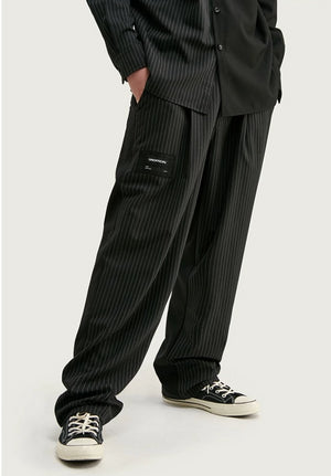 Half Striped Long Sleeve Shirt and Pants in Black Color