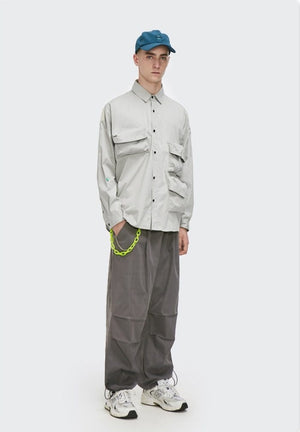 Multi-Pocket Oversize Shirt Grey 6