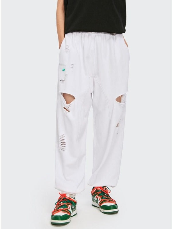 Ripped Sweatpants in White Color