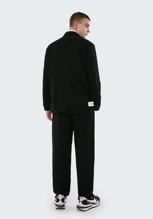 Unique Cut Lapel Blazer and Pants Set Black 2