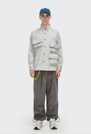 Multi-Pocket Oversize Shirt Grey 5