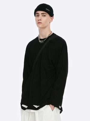 Black Ripped Long Sleeve T-Shirt 2
