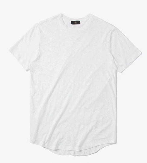 White Elongated Plain T Shirt