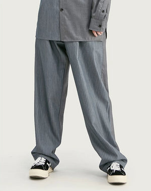 Half Striped Long Sleeve Shirt and Pants in Grey Color