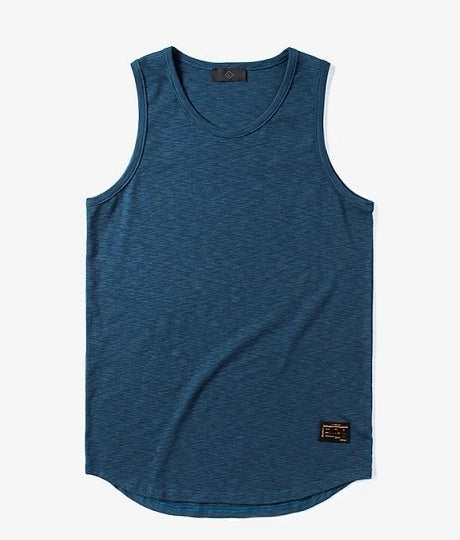 Extra Long Curved Hem Tank Top in Blue