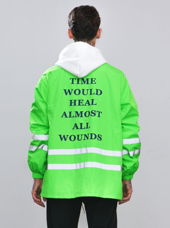 """Time Would Heal Almost All Wounds"" Reflective Striped Jacket - This Is For Him"