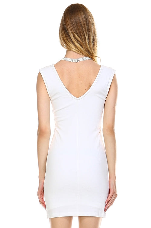 Women's Deep V-neck Slim Fit Sleeveless Dress - Proud Girl