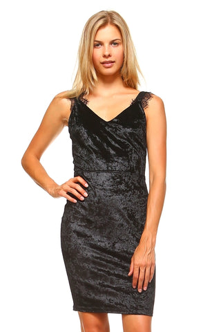 Women's V-Neck Velvet Lace Detail Tank Dress - Proud Girl