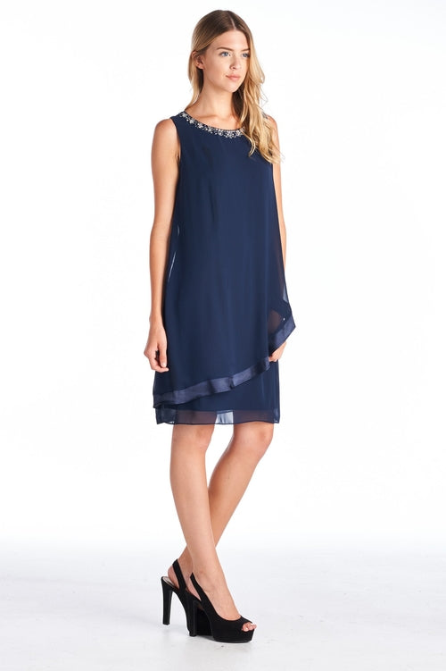 Women's Beaded Neckline Chiffon Dress - Proud Girl