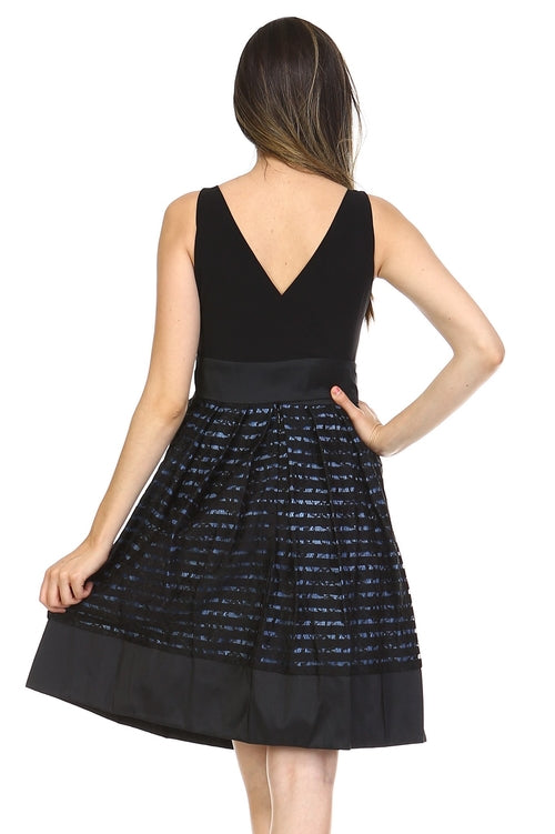 Women's A-Line Waist Tie Textured Dress - Proud Girl