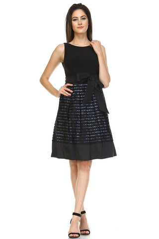 Women's A-Line Waist Tie Textured Dress