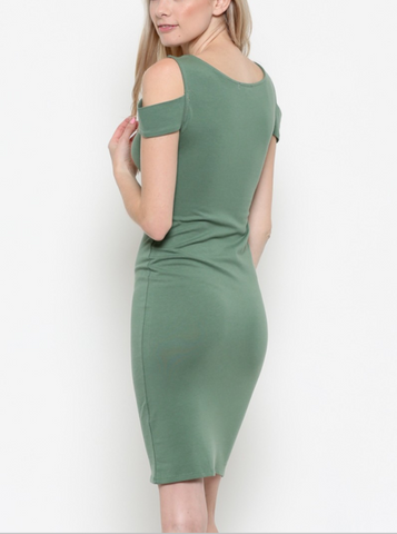 Kendall - Sage Cold Shoulder Bodycon Dress - Proud Girl