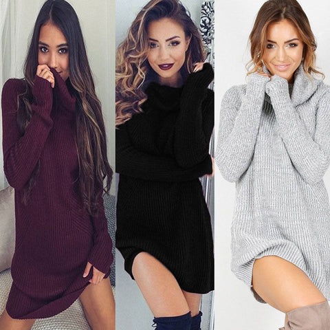 2017 Women Ladies Winter Clothing Dresses Warm Long Sleeve Knitted Sweater Mini Dress Autumn Winter Clothes Women