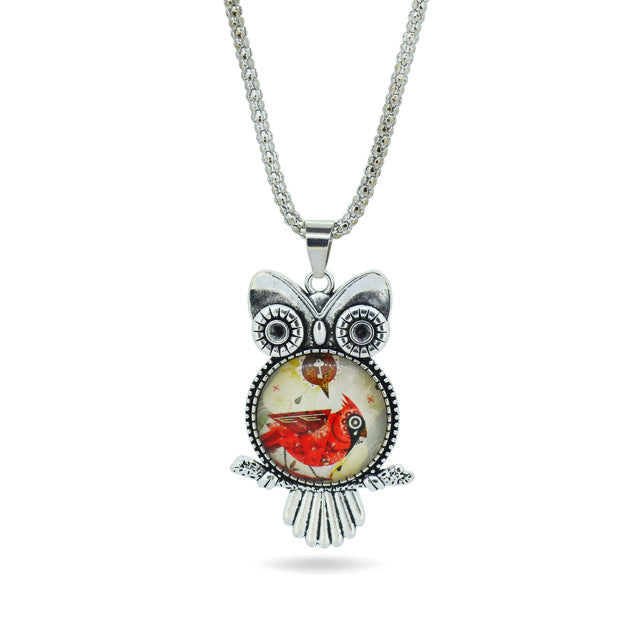 Owl glass pendant necklace proud girl owl glass pendant necklace aloadofball Choice Image