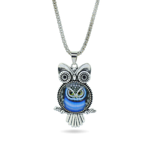 Owl Glass Pendant Necklace