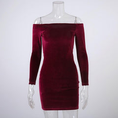 Sexy Off Shoulder Wine Red Sheath Velvet Dress Women Winter Party Long Sleeve 2016 Elegant Pencil Bodycon Ladies Dress Vestidos - Proud Girl