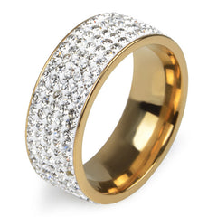 5 Rows Crystal Stainless Steel Finger Ring - Proud Girl
