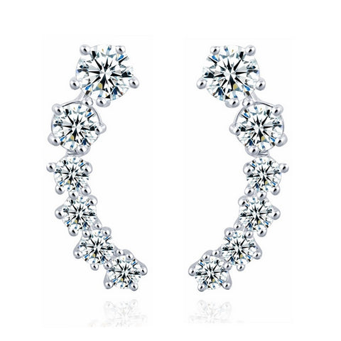 Silver Color Stars Crystal Earrings - Proud Girl