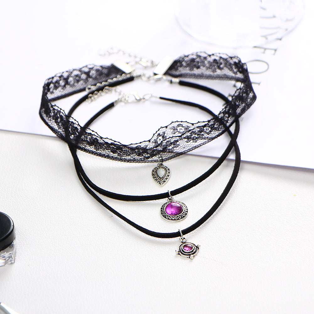 3 Layer Steampunk Lace Choker Necklaces - Proud Girl