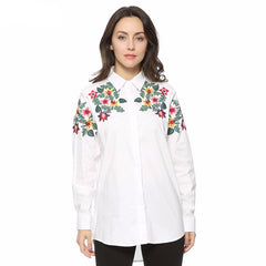 Women's full cotton floral embroidery Shirt - Proud Girl