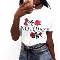 Nothing Letter Print Tee Shirt - Proud Girl