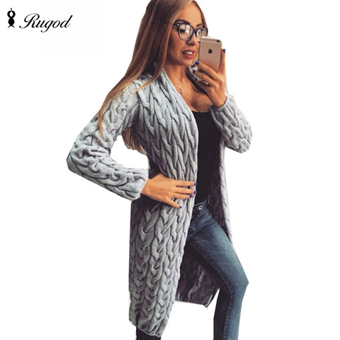 RUGOD 2017 New Autumn&Winter Knitted Crochet Sweater for Women Long Twisted cardigan dress Open female sweaters cardigan women
