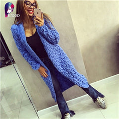RUGOD 2017 New Autumn&Winter Knitted Crochet Sweater for Women Long Twisted cardigan dress Open female sweaters cardigan women - Proud Girl