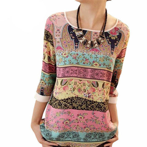 Boho Print Ladies Tops - Proud Girl