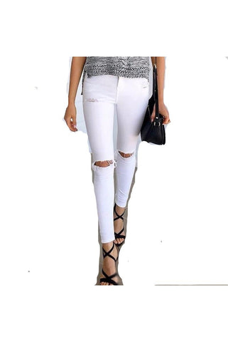 Summer style white hole ripped Women's jeans - Proud Girl