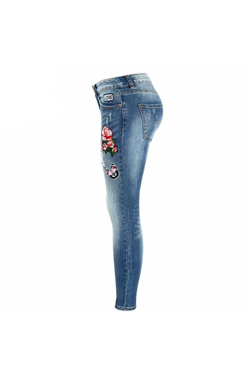 Embroidery Flower Patch Cropped Women's Jeans - Proud Girl
