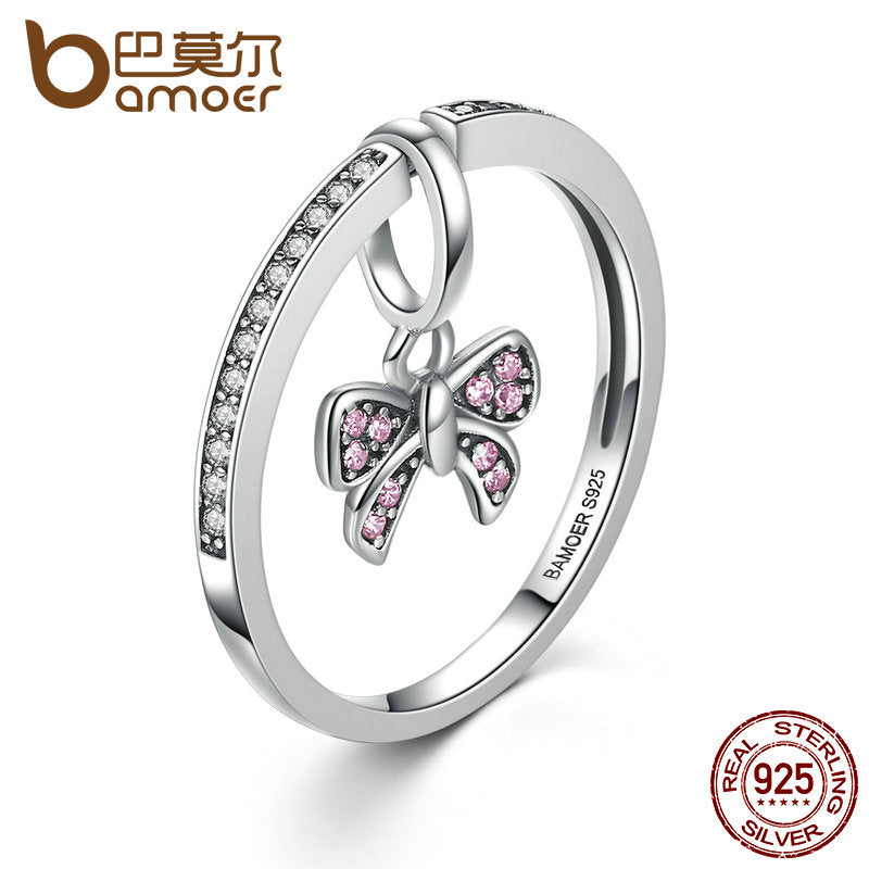 925 Sterling Silver Pink Women Ring - Proud Girl