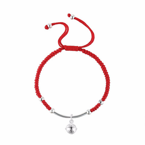Sterling Silver Bell Lucky Red Rope Bracelet - Proud Girl