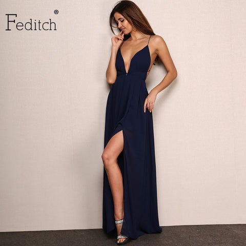 Feditch New Fashion 4 Color Deep V Neck Maxi Dress Women Sexy Backless Evening Party Dresses Nighrtclub Wear Vestidos Hot Sale