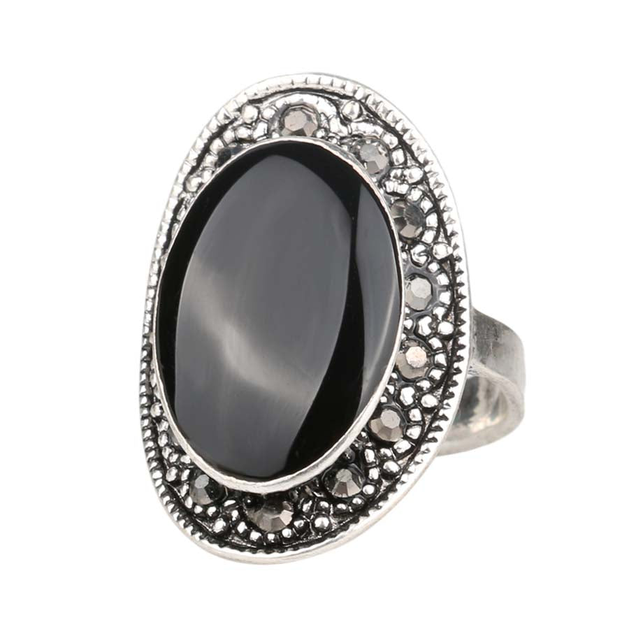 Oval Black And Green Finger Ring - Proud Girl