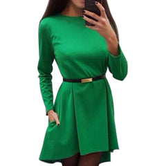 Irregular Women Solid Dress 2017 Autumn Casual Loose Office Lady Dresses Winter long sleeve Elegant Vestidos Without Belt Q0074B - Proud Girl
