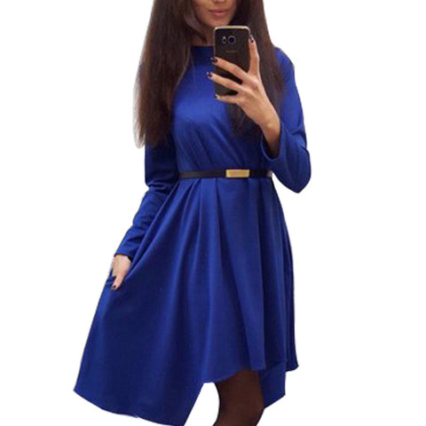 Irregular Women Solid Dress 2017 Autumn Casual Loose Office Lady Dresses Winter long sleeve Elegant Vestidos Without Belt Q0074B
