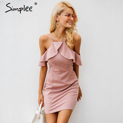 Simplee Strap cold shoulder ruffle winter dress women Sexy backless split bodycon dress Autumn elegant party dresses vestidos