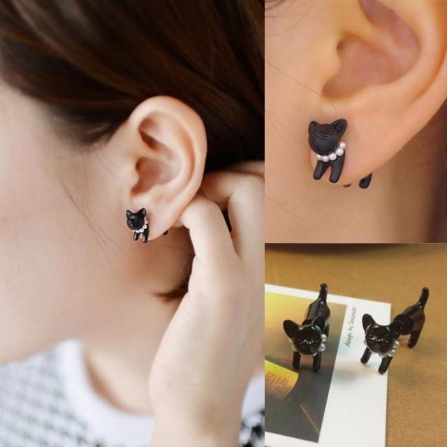 Black Cat Pearl Stud Earrings - Proud Girl