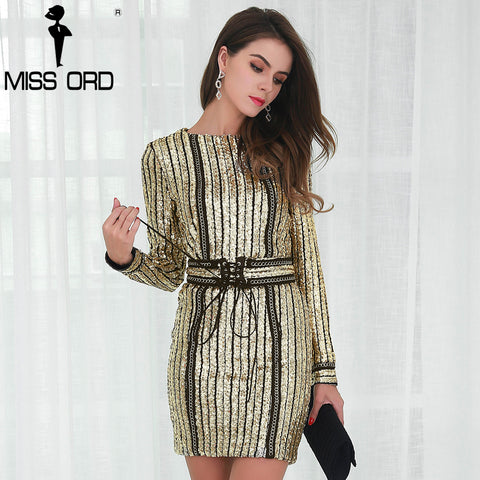 Missord 2017 Sexy O-neck long sleeve sequin belt rope dress FT4935
