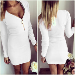 2017 Autumn Winter Women Mini Dresses Sexy Stretch Zipper Bodycon Dress Sexy Long Sleeve V-neck Knit Dress Party Vestidos Mujer - Proud Girl