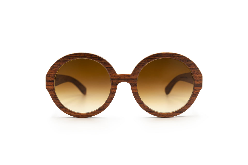 Holy O Brown Round Wooden Sunglasses