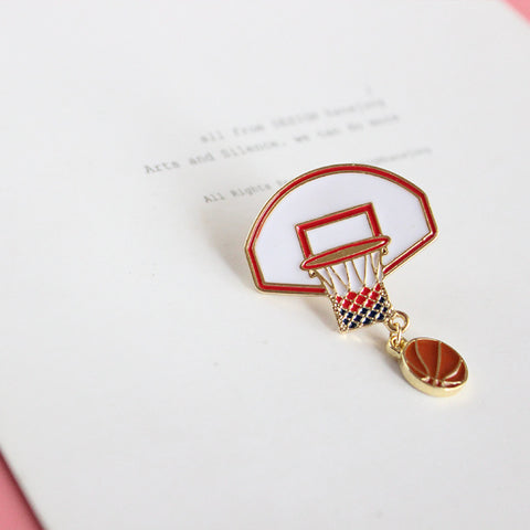 Metal Basket Basketball Pin Brooch - livecoolstuff