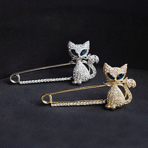 Cute Golden/Silvery Green-eyes Cat Pin Brooch - livecoolstuff