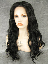 24 inch  Synthetic Lace Front with Wave Texture in Darkest Brown/Off Black, Synthetic Wig, Royal Crown Wigs