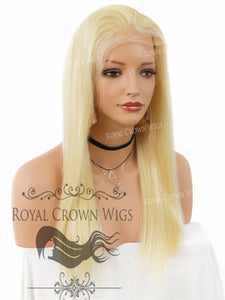 18 Inch Lace Front Human Hair Wig with Straight Texture in Blonde 130% Density, Human Hair Wig, Royal Crown Wigs
