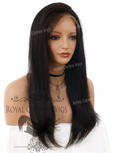 18 Inch Lace Front Human Hair Wig with Straight Texture in Natural Color 150% Density, Human Hair Wig, Royal Crown Wigs