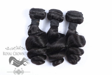 Loose Wave #1 Human Hair Weft, Natural Color Weft Hair Extension, Royal Crown Wigs