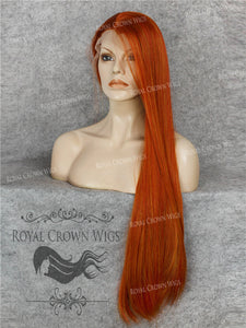"30 inch Heat Safe Synthetic Straight Lace Front ""Hera"" in Ginger Red, Synthetic Wig, Royal Crown Wigs"