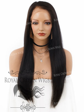 20 Inch Lace Front Human Hair Wig with Straight Texture in Natural Color 180% Density, Human Hair Wig, Royal Crown Wigs