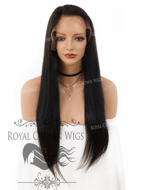 22 Inch Lace Front with Lace Top Human Hair Wig with Straight Texture in Natural Color 130% Density, Human Hair Wig, Royal Crown Wigs